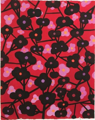 Ruby Palmer, Flower Series: Black on Red, 2016