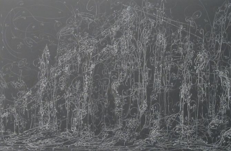 Kysa Johnson, blow up 200 - subatomic decay patterns after Piranesi's walls which enclosed the slopes of the Caelian Hill (2013)