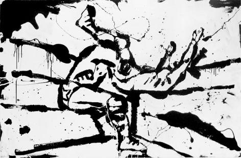 Slam! (2010) Enamel on canvas 48h x 72w in