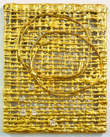 Nancy Lorenz, Untitled Burlap with Rock Crystals, 2015