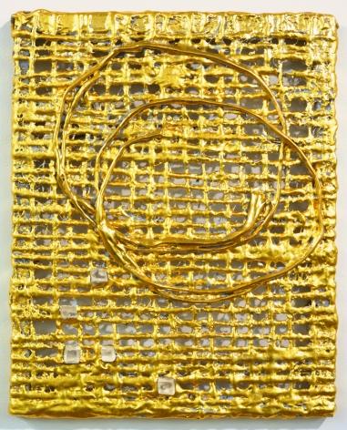 Nancy Lorenz, Untitled Burlap with Rock Crystals, 2015