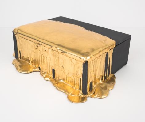 Nancy Lorenz, Gold Pour with Black Box, 2018