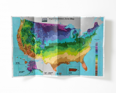 Carly Glovinski, Untitled (plant hardiness zone map), 2016