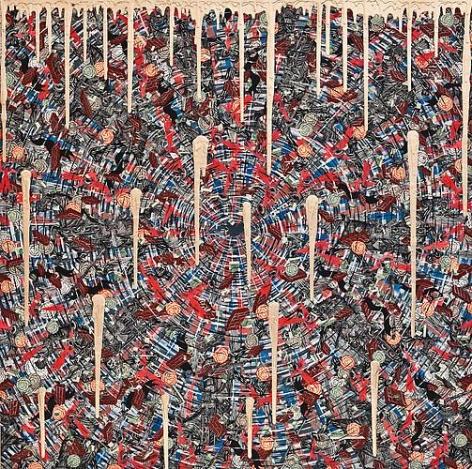 Andrew Schoultz, Exploding Eye (Gold Drip) (2013)