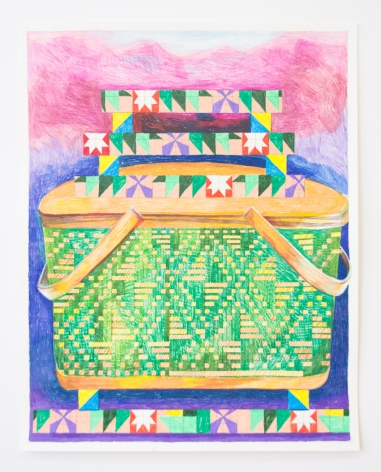 Carly Glovinski, Picnic Basket and Fire Quilt Stack, 2019