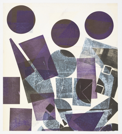 Austin Thomas, Three Purple Circles at the Top and black forms upon white surfaces, 2019