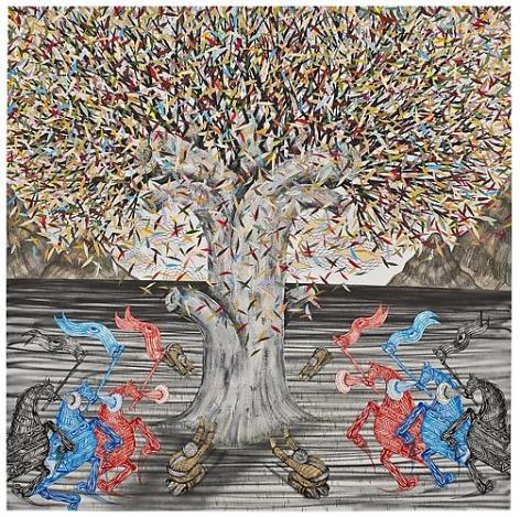 Andrew Schoultz, Shamans Under Tree (2013)