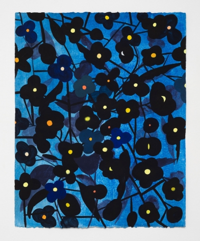Ruby Palmer, Flower Series: Black with Yellow on Bright Blue, 2020