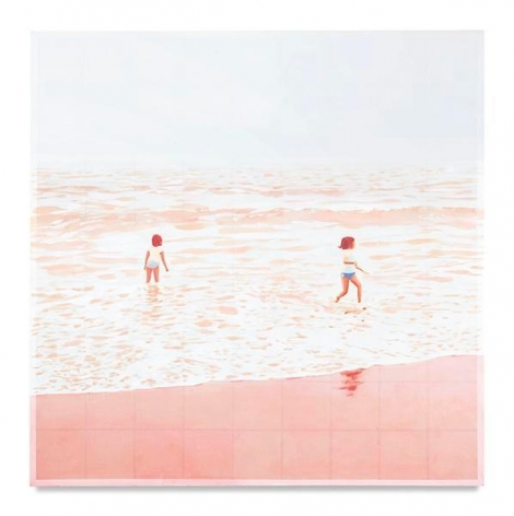 Two Bathers (Pink), 2017, Mixed media oil on canvas. 63 x 63 inches, 160 x 160 cm, MMG#28873