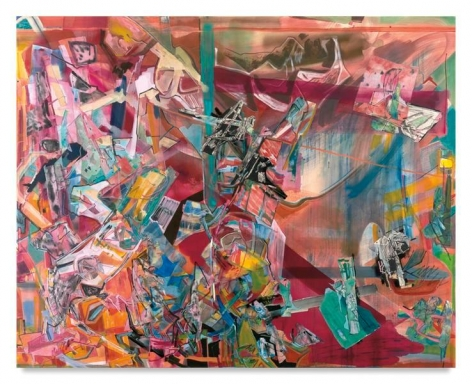 My Own Folly, 2016, Acrylic, oil, and collage on canvas, 80 x 100 inches, 203.2 x 254 cm, MMG#28313