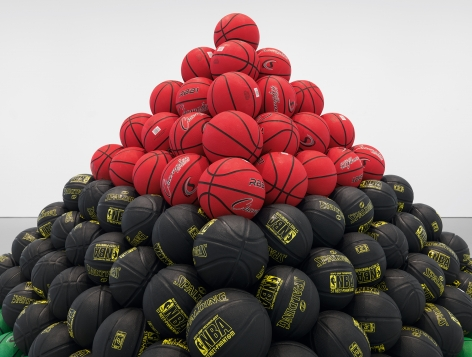 Liberation (detail), 2019, rubber basketballs official size, wood frame, bluetooth speaker, 90 x 120 x 120 inches, 228.6 x 304.8 x 304.8 cm, MMG#31631