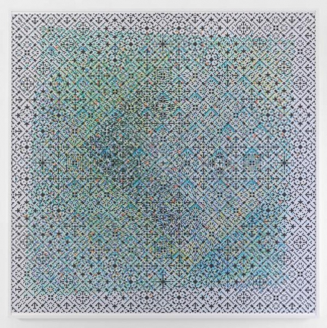 Crossword, 2015, Watercolor on paper mounted on archival Tycore, 75 1/2 x 76 1/4 inches, 191.8 x 193.7 cm, AMY#27931