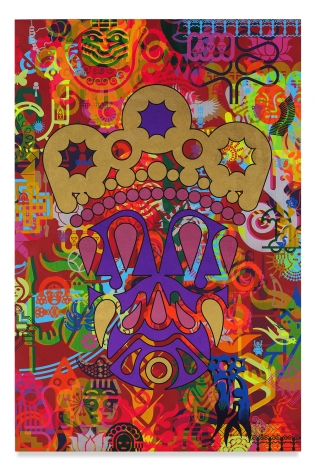 Ryan McGinness, Taipei Dangdai 1, 2019, Acrylic and metal leaf on linen, 60 x 40 inches, 152.4 x 101.6 cm, MMG#31807