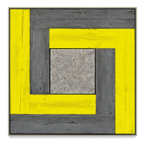 Untitled (Tree Painting-Double L, Yellow and Gray), 2021, Oil on linen and acrylic stain on reclaimed wood with artist frame, 52 1/4 x 52 3/8 inches,132.7 x 133 cm, MMG#33171