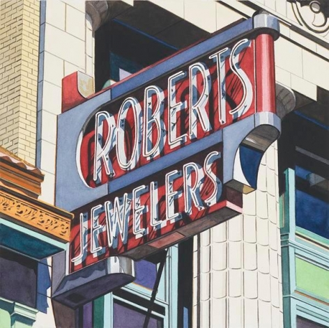 Roberts Jewelers, 2013, Watercolor on Paper, 15 1/2 x 15 1/2 inches, 39.4 x 39.4 cm, AMY#29126