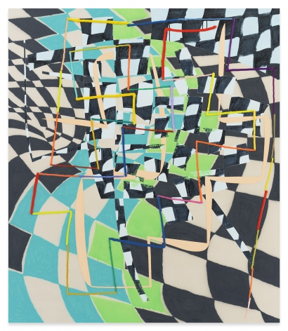 Trudy Benson, Structures Gonfables, 2021, Acrylic and oil on canvas, 77 1/4 x 66 1/8 inches, 196.2 x 168 cm,MMG#33118