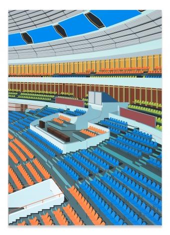 Daniel Rich, Stadium, Pyongyang, 2018, Acrylic on Dibond