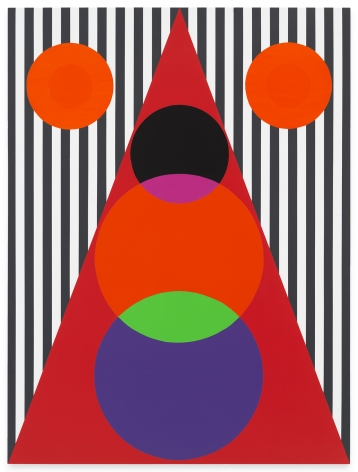 Rico Gatson, Untitled (Double Sun/Sonhouse), 2021, Acrylic paint on wood, 48 x 36 inches, 121.9 x 91.4 cm, MMG#33127,
