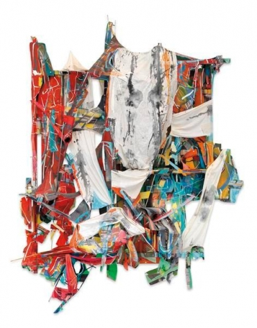 Talisman Debris, 2016, Acrylic and collage on canvas, wood and steel, 90 x 68 x 26 inches, 228.6 x 172.7 x 66 cm, AMY#28303