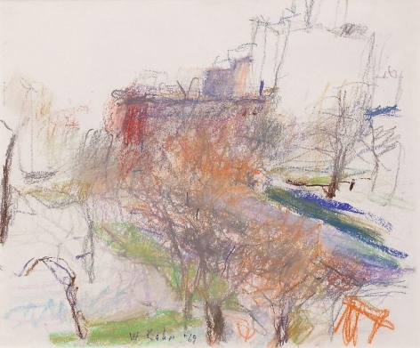"""St. George's Church in the Fall,"" 1969, Pastel on paper, 14 x 17 inches, 35.6 x 43.2 cm, A/Y#20364"
