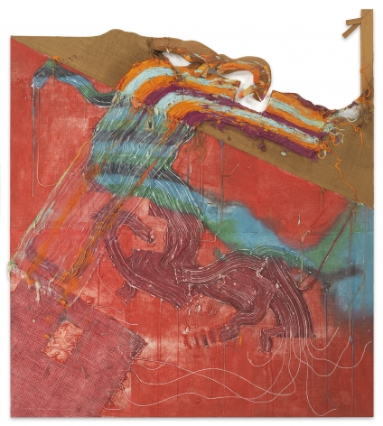 Fabian Marcaccio, The Altered Genetics of Painting Series, 1991, Oil and silicone on printed fabric and burlap, carved wood, 84 x 74 x 2 5/8 inches, 213.4 x 188 cm,MMG#33152