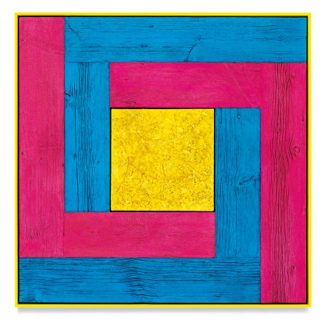 Untitled (Tree Painting-Double L, Blue, Pink, and Yellow), 2021, Oil on linen and acrylic stain on reclaimed wood with artist frame, 52 1/4 x 52 1/8 inches, 132.7 x 132.4 cm,MMG#33173