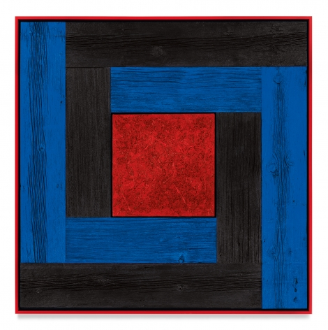 Untitled (Tree Painting-Double L, Black, Blue and Red), 2021, Oil on linen and acrylic stain on reclaimed wood with artist frame, 52 3/8 x 52 3/8 inches, 133 x 133 cm, MMG#33170
