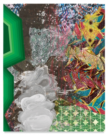 Makeba, 2019, Acrylic, oil, spray paint, glitter, collage, crayon, graphite, on canvas, 60 x 48 inches, 152.4 x 121.9 cm, MMG#31524