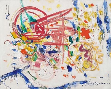 """Laburnum,"" 1954, Oil on linen, 40 x 50 inches, 101.6 x 127 cm, A/Y#118"