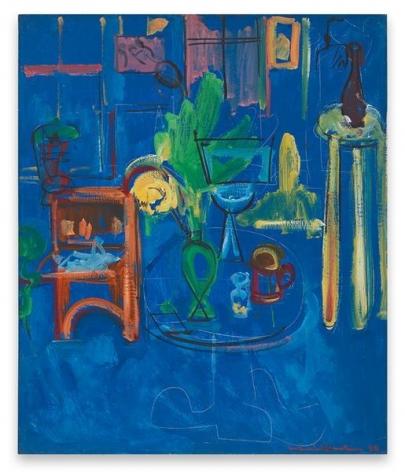 Hans Hofmann, Green Vase on Blue, 1940, Oil on panel, 36 x 29 1/2 inches, 91.4 x 74.9 cm, AMY#29230