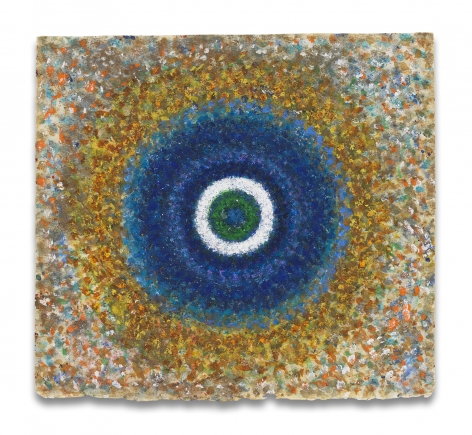 Richard Pousette-Dart, Radiance, Blue Circle, 1960s, Oil on paper, 12 1/4 x 11 1/4 inches, 31.1 x 28.6 cm, MMG#30458,