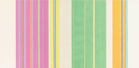 """""""Yellow Jacket,"""" 1969, Acyrlic on canvas, 107 1/4 x 220 inches, 272.4 x 558.8 cm, A/Y#19554"""