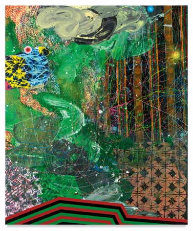 Transcendance, 2019, Acrylic, oil, spray paint, glitter, collage, crayon, graphite, on canvas, 72 x 60 inches, 182.9 x 152.4 cm, MMG#31526