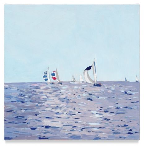 Sailboats, 2019, Mixed media oil on canvas, 14 x 14 inches, 35.6 x 35.6 cm, (MMG#32081)