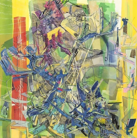 Detroit Phone Book, 2013, Acrylic, collage, and oil on canvas, 80 x 80 inches, 203.2 x 203.2 cm, A/Y#21145