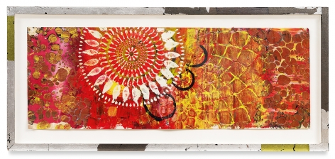 +'s & -'s #25, 2018,Oil stick, encaustic, vintage Indian paper, in artist's frame,13.5 x 30 inches,34.3 x 76.2 cm,MMG#30610