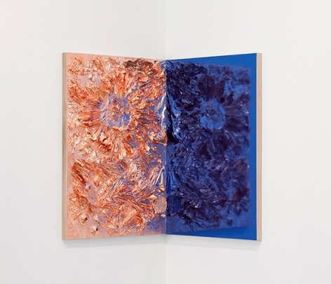 """Heart Sutra,"" 2013, Copper foil, palm leaf and cardboard on panel and chrome laminate on wood panel, diptych at a 90 degree angle, 27 x 39 inches each, 68.6 x 99.1 cm each, A/Y#20813"