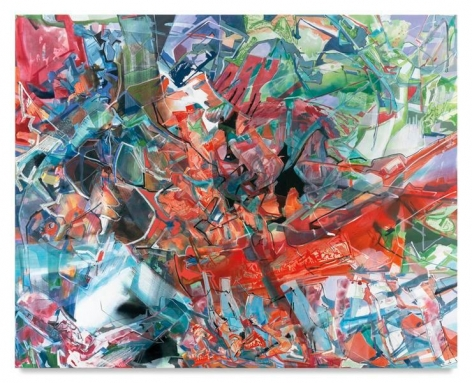 An Orange Shadow Slithering, 2015, Acrylic, oil, and collage on canvas, 80 x 100 inches, 203.2 x 254 cm, AMY#28208