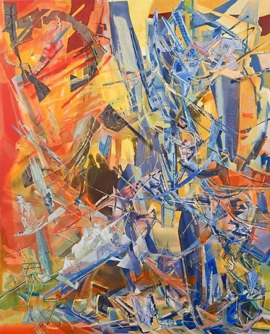 Murmuring Swordsman, 2013, Acrylic, collage, pastel, and oil on canvas, 96 x 77 inches, 243.8 x 195.6 cm, A/Y#21144