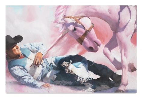 Will Cotton, The Taming of the Cowboy, 2020, Oil on linen, 52 x 78 inches, 132.1 x 198.1 cm, MMG#32542