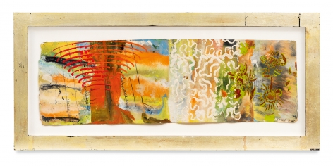 Raga 3, 2013, Oil stick, encaustic, vintage Indian paper, in artist's frame, 10 x 22 inches, 25.4 x 55.9 cm, MMG#30622