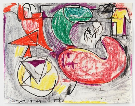 On the Sea, 1943, Crayon and ink on paper, 11 x 14 inches, 27.9 x 35.6 cm, AMY#15038