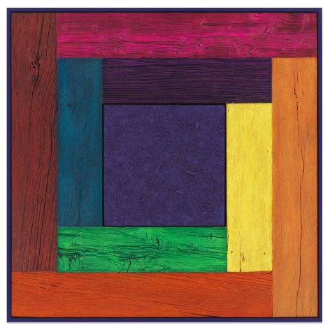 Untitled (Tree Painting, Full Spectrum/Purple), 2019, Oil on linen and acrylic stain on reclaimed wood with artist frame, 42 x 42 inches, 106.7 x 106.7 cm, MMG#32877
