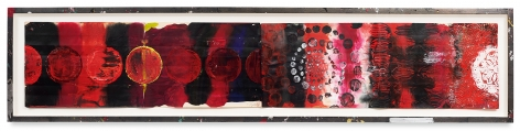 Year of the Rat 20, 2018,Oil stick, encaustic, vintage Indian paper, in artist's frame,12.5 x 56.25 inches,31.8 x 142.9 cm,MMG#30631
