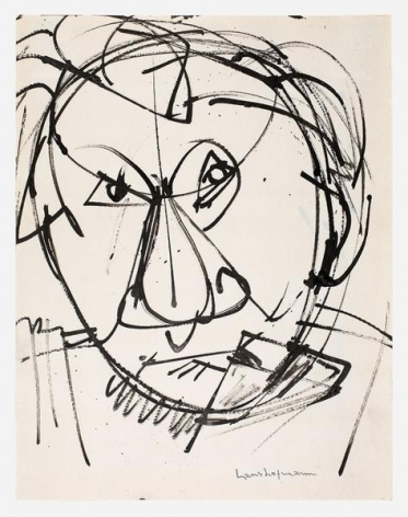 Self Portrait, c. 1942, Ink on paper, 10 3/4 x 8 1/2 inches, 27 x 22 cm, AMY#22106