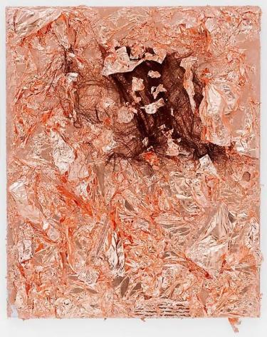 """TAM VAN TRAN, """"Matrix Flowers 5,"""" 2013, Copper, palm leaf, and cardboard on canvas, 27 1/4 x 22 1/4 inches, 69.2 x 56.5 cm, A/Y#20869"""