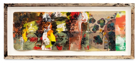 Udaipur 19, 2014, Oil stick, encaustic, vintage Indian paper, collage, in artist's frame, 9.5 x 21 inches, 24.1 x 53.3 cm, MMG#30626