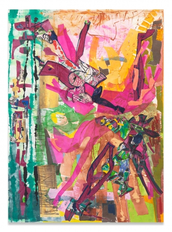 Drover Pulled Close, 2019,Acrylic and collage on muslin,110 x 80 inches,279.4 x 203.2 cm,MMG#31623