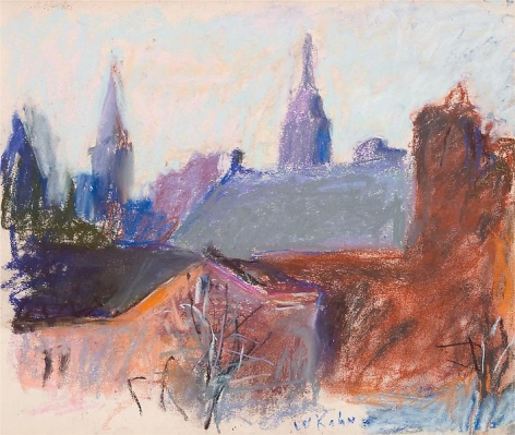 """Early Pastel of St. George's Church, NY,"" 1969, Pastel on paper, 14 x 17 inches, 35.6 x 43.2 cm, A/Y#20210"