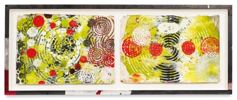 Year of the Rat 10, 2018,Vintage Indian paper, oil stick, encaustic, vintage Indian paper, in artist's frame, 13.5 x 34 inches